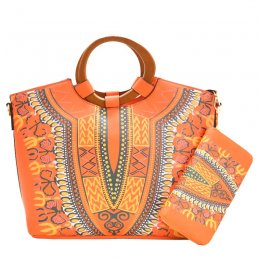 Bohemian Wooden Top Handle 2-in-1 Satchel Orange