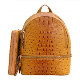 Ostrich Leather Small Backpack and Wallet Murstard