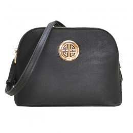 Leather Shoulder Strap Handbag Black