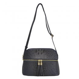 Ostrich Embossed Multi Compartrment Cross Body Black