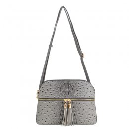 Ostrich Embossed Multi Compartrment Cross Body DK Grey
