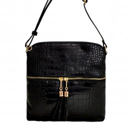 Croc Square Cross Body Black