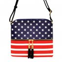 US Flag Tassel Zipper Crossbody Bag Black