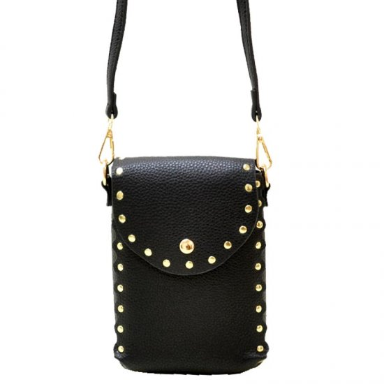 Fashion Studded Cell Phone Purse Crossbody Bag Black - Click Image to Close