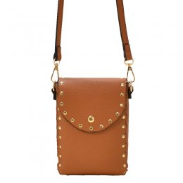 Fashion Studded Cell Phone Purse Crossbody Bag Brown