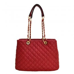 2 IN 1 Quilted Tote Bag Wallet Red