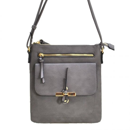 Fashion Faux Messenger Bag Grey - Click Image to Close