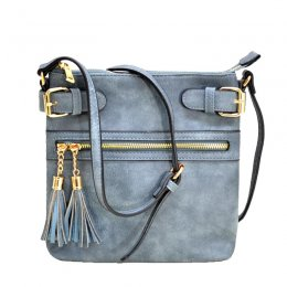 zipper tassel crossbody black Blue
