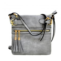 zipper tassel crossbody black Grey