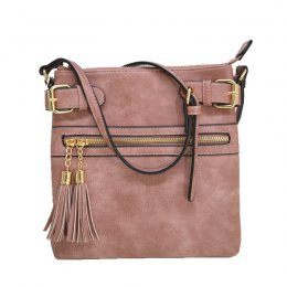 zipper tassel crossbody black Mauve