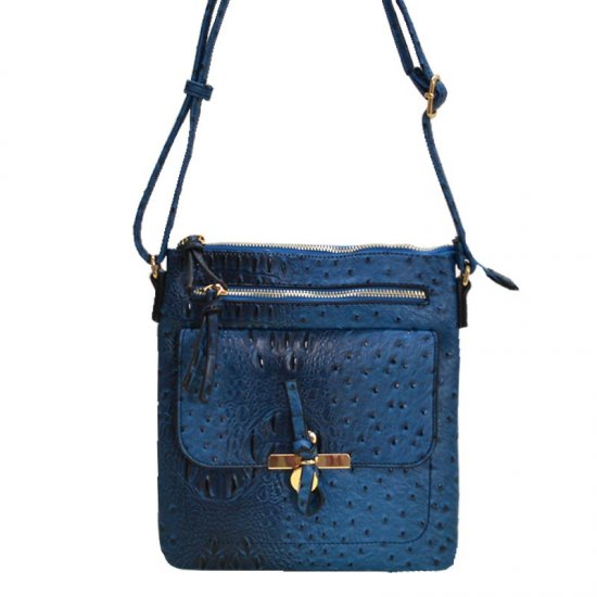 Multi-Pocket Ostrich Print Knot Accent Cross Body Peacock - Click Image to Close