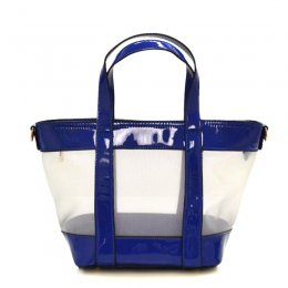Clear Mash Hand Bag Blue