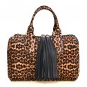 Leopard Print and Double Tassel Boston Bag Brown