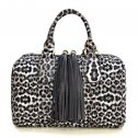 Leopard Print and Double Tassel Boston Bag White