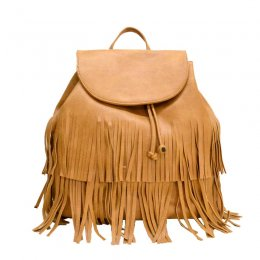 Fringe Drawstring Convertible Backpack Tan