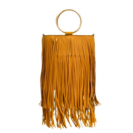 Metal Ring Mini Fringe Tote Bag