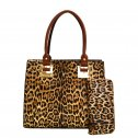 Hardware Accent Leopard Print Tall Satchel Wallet Brown