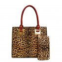 Hardware Accent Leopard Print Tall Satchel Wallet Red
