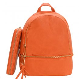 Fashion Small Backpack with Wallet Coral