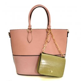 Alligator 2-in-1 Shopper Satchel Blush/Pink/Khaki