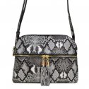 Snake Print Multi-Color Compartment Cross Body Messenger Black