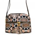 Snake Print Multi-Color Compartment Cross Body Messenger Tan