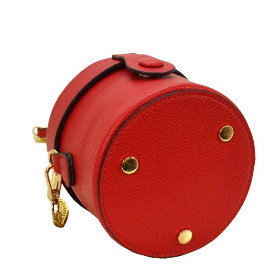 Fashion Cylinder Messenger Hand Bag Red - Click Image to Close