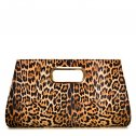 Ostrich Embossed Carry Bag Clutch Leopard