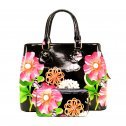 Glossy Flower Printed 3-in-1 Satchel Orange