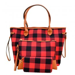 Printed Canvas 3-in-1 Shopper Red