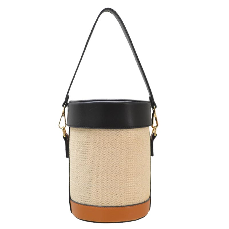Color Block Woven Straw Barrel-Shaped Shoulder Bag Beige/Brown