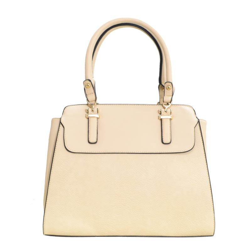 New Double Zip Pocket Satchel Bag Beige