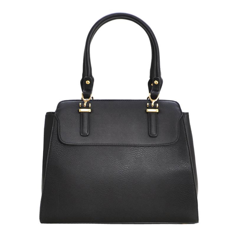 New Double Zip Pocket Satchel Bag Black