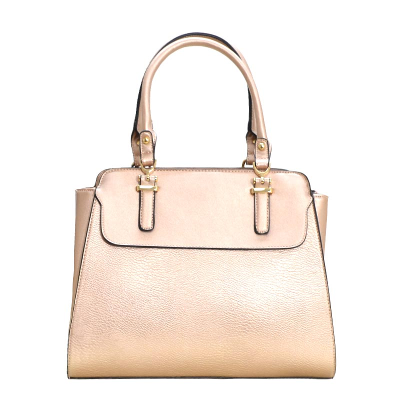 New Double Zip Pocket Satchel Bag Rose Gold
