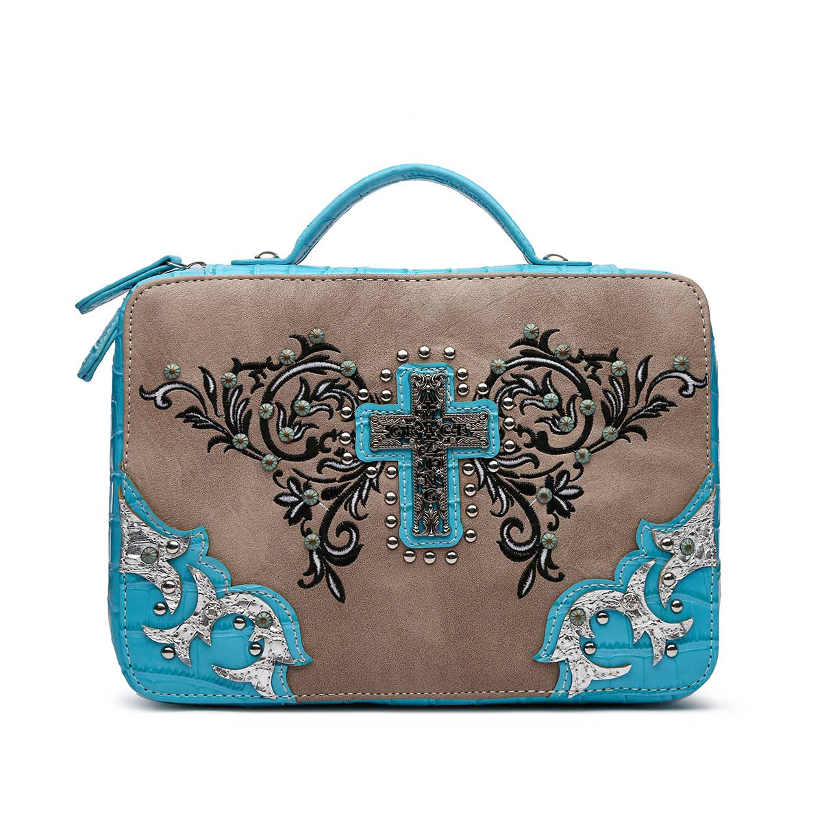 Amazing Grace Bible Verse Bag Turquoise