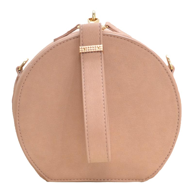 Wrist Handle Round Shoulder Bag Blush
