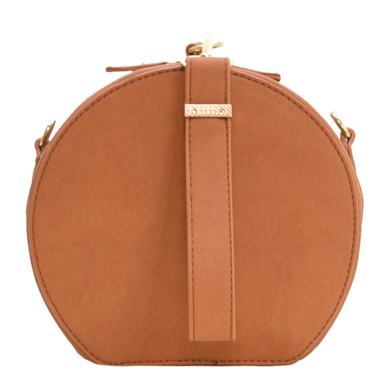 Wrist Handle Round Shoulder Bag Cognac
