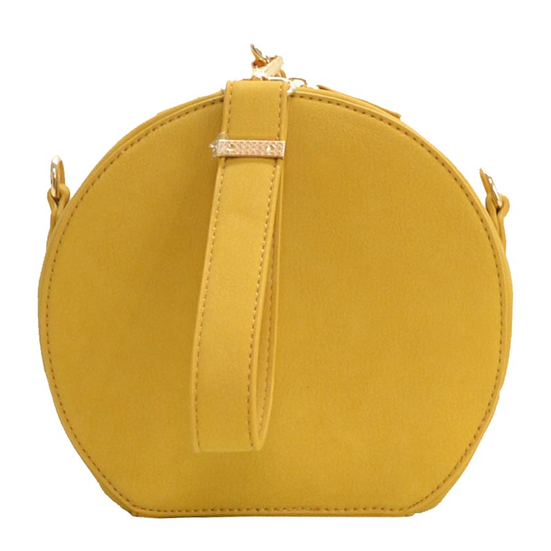 Wrist Handle Round Shoulder Bag Yellow