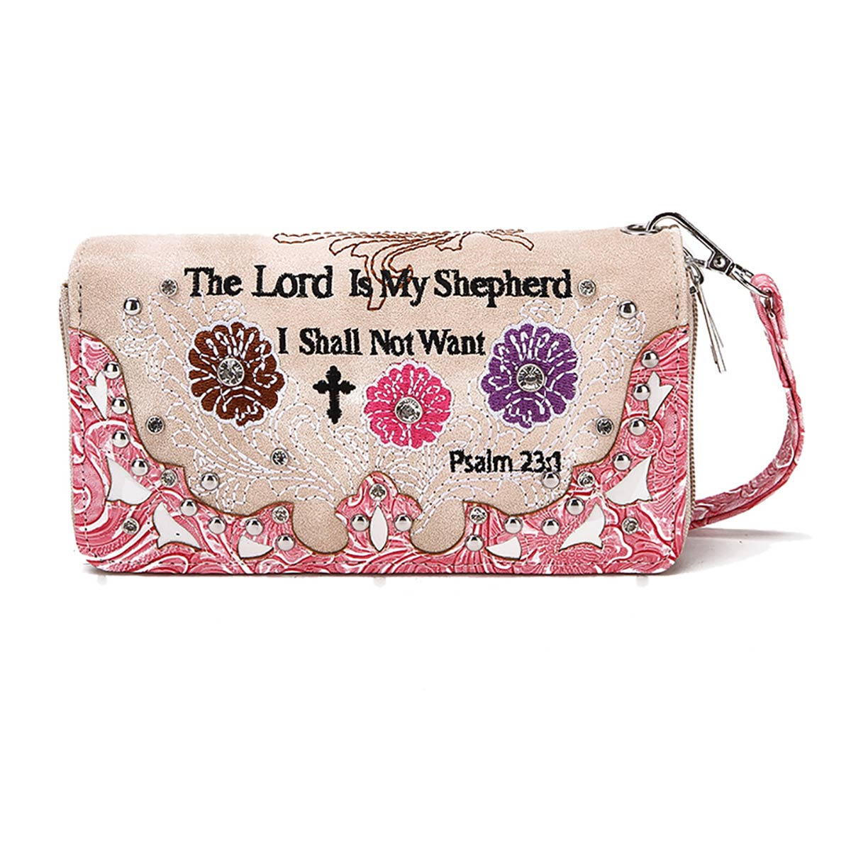 'Psalm 23:1' Biblical Word Wallet Fuchsia