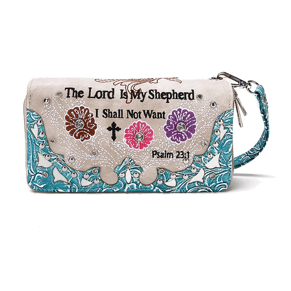 'Psalm 23:1' Biblical Word Wallet Turquoise