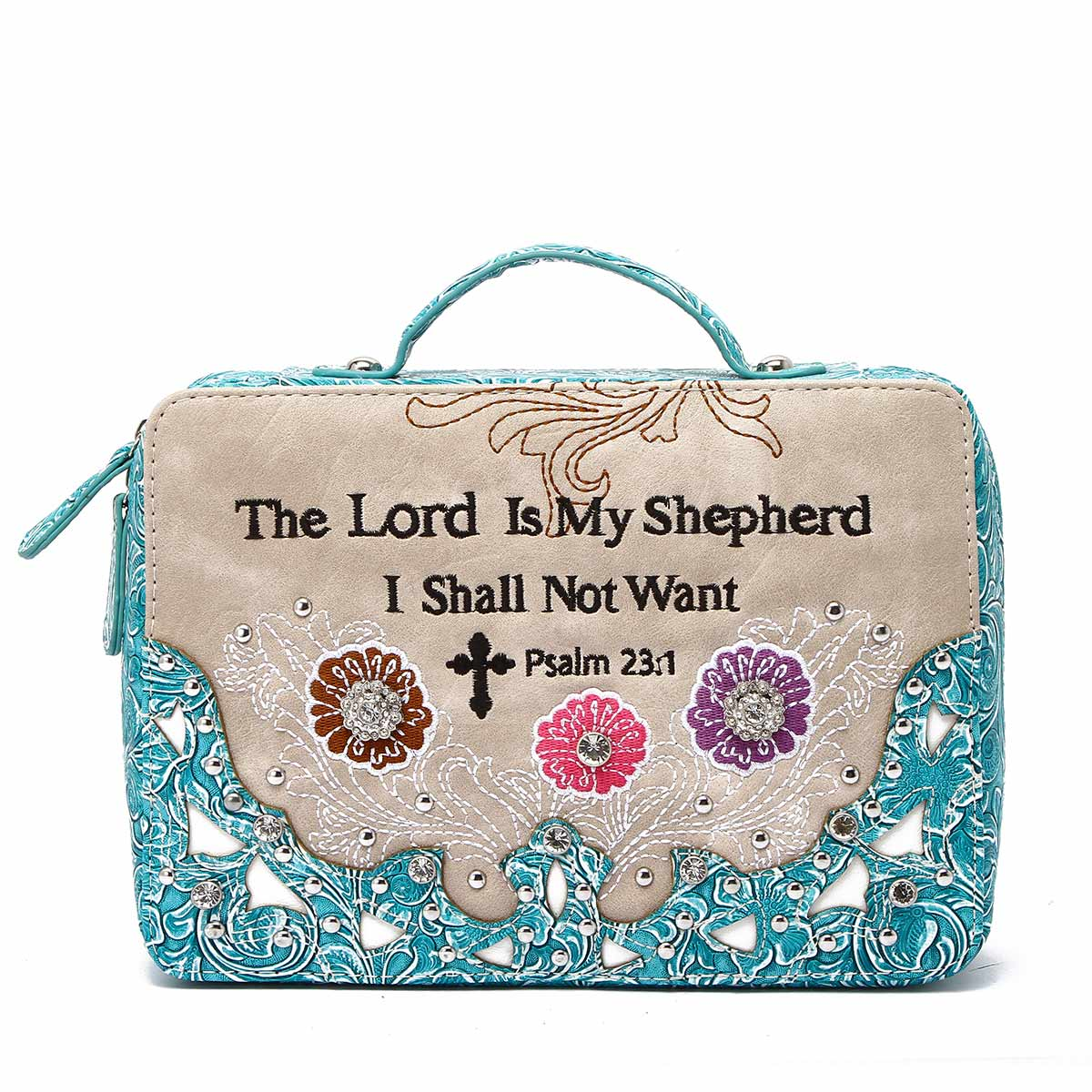 Western Cowgirl Bible Verse Bible Cover Turquoise