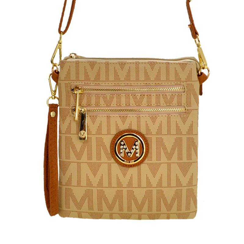 M Signature Crossbody Purse by Mia K Farrow Crossbody Beige