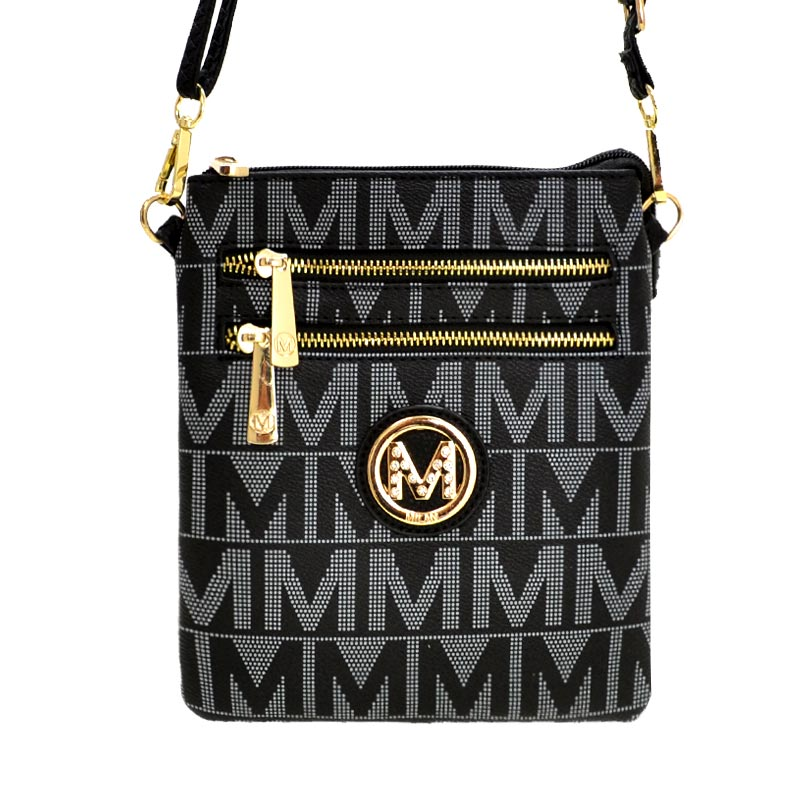 M Signature Crossbody Purse by Mia K Farrow Crossbody Black