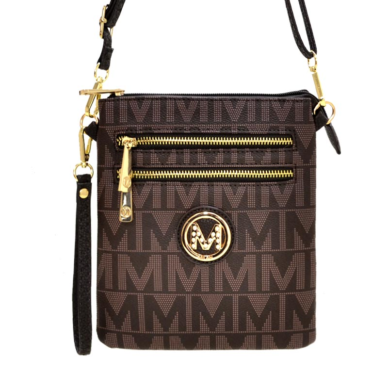 M Signature Crossbody Purse by Mia K Farrow Crossbody Chocolate