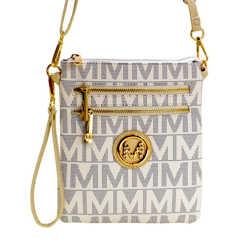 M Signature Crossbody Purse by Mia K Farrow Crossbody White