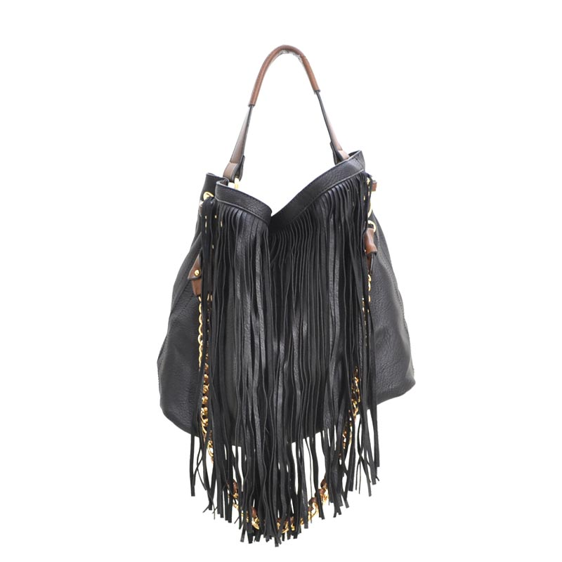 2 in 1 Fringe Satchel With Long Strap Black