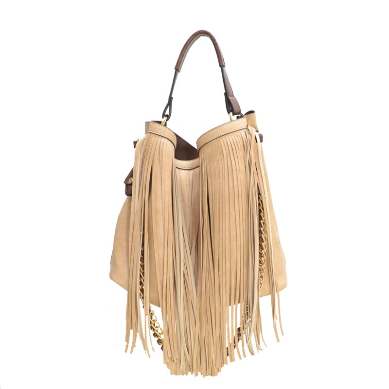 2 in 1 Fringe Satchel With Long Strap Taupe