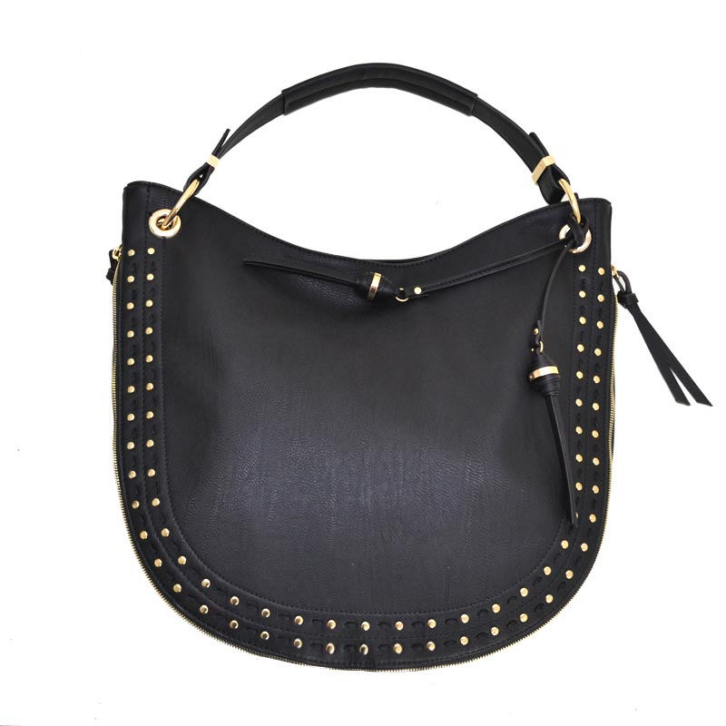 Stud and Stitch accent expandable Single Strap Hobo Black