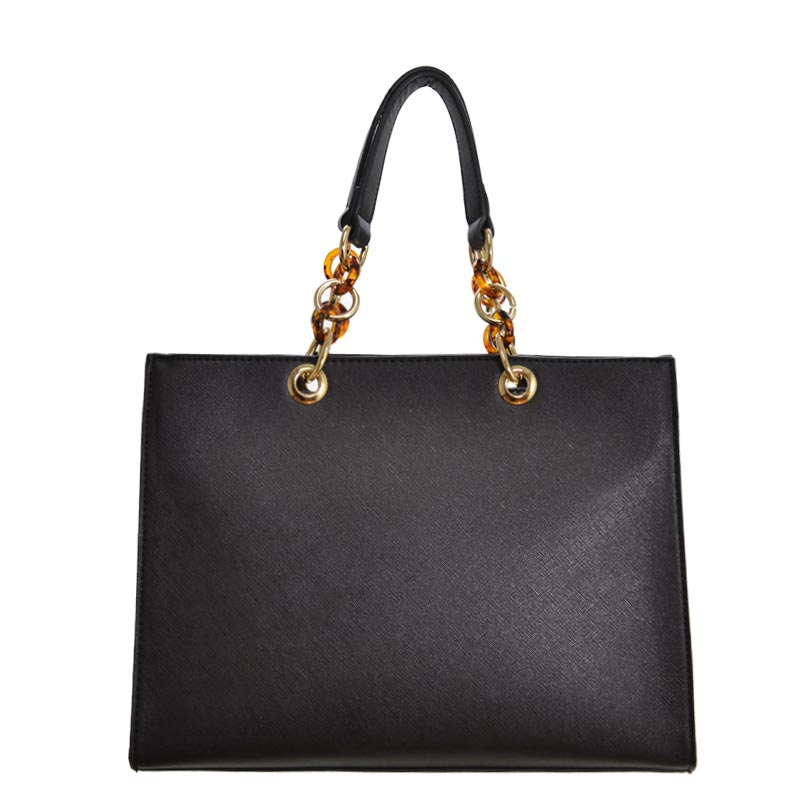 Chain Deco Handle Elegant Fashion Handbag Black