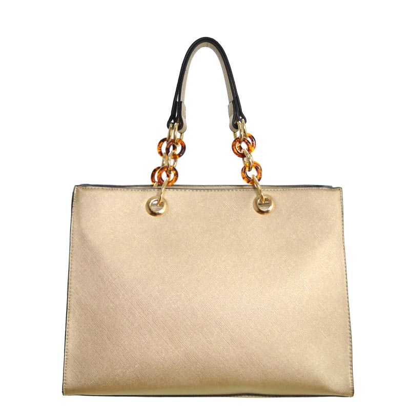 Chain Deco Handle Elegant Fashion Handbag Gold